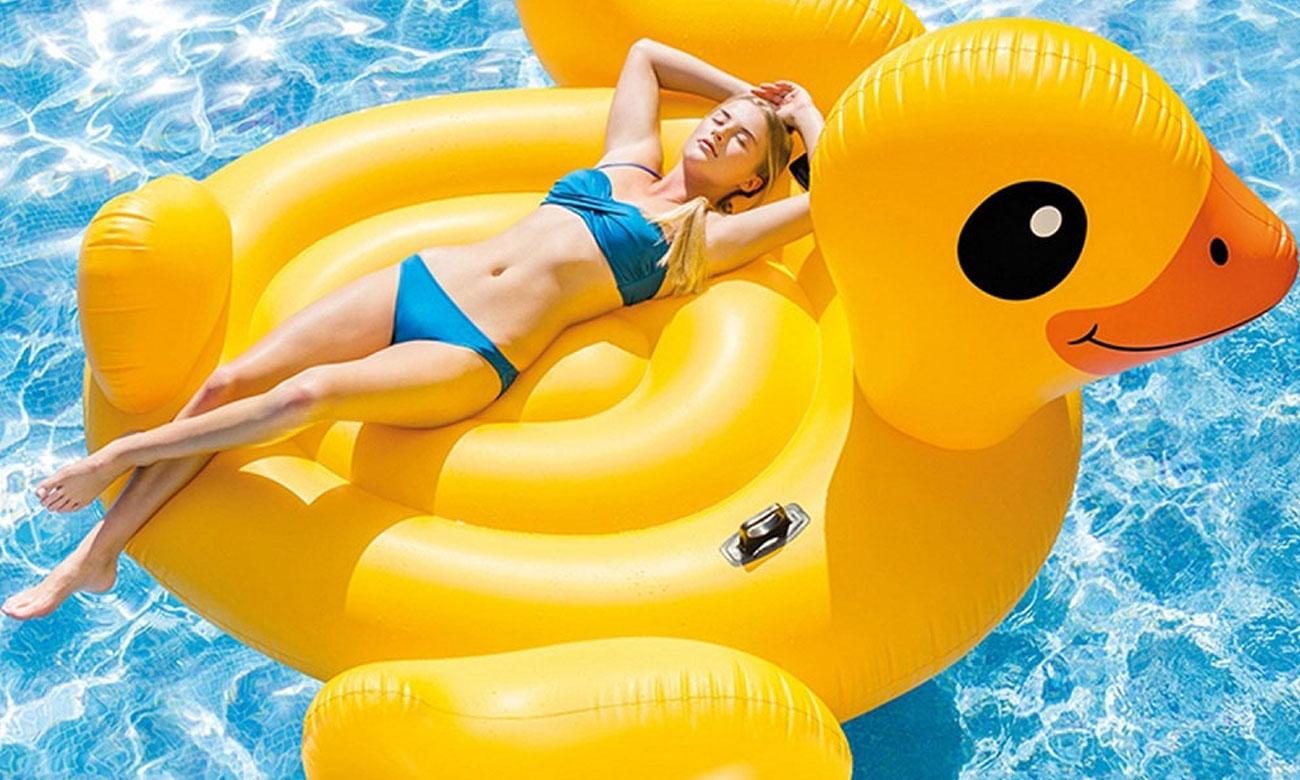 Dmuchany materac Mega Yellow Duck Island 56286EU