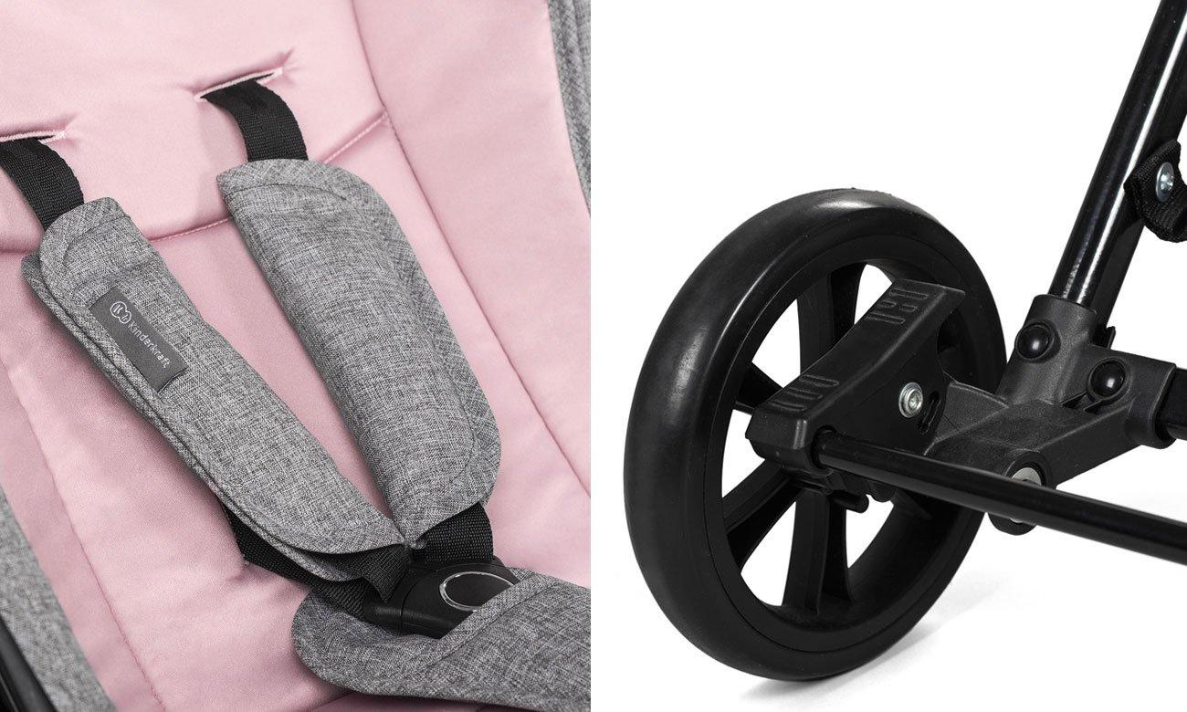 Pasy i hamulce w spacerówce KinderKraft Lite Up Pink