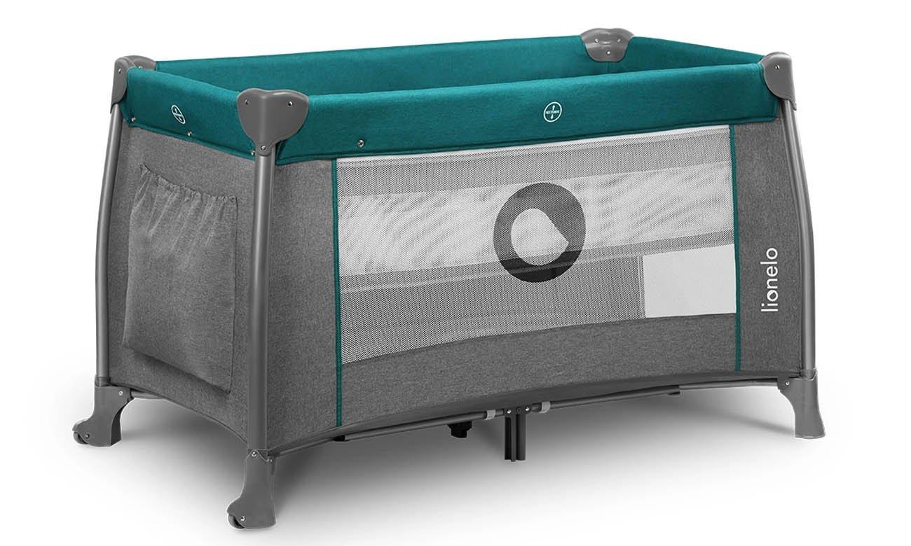 Dwupoziomowe łóżeczko turystyczne Lionelo Thomi Green Turquoise
