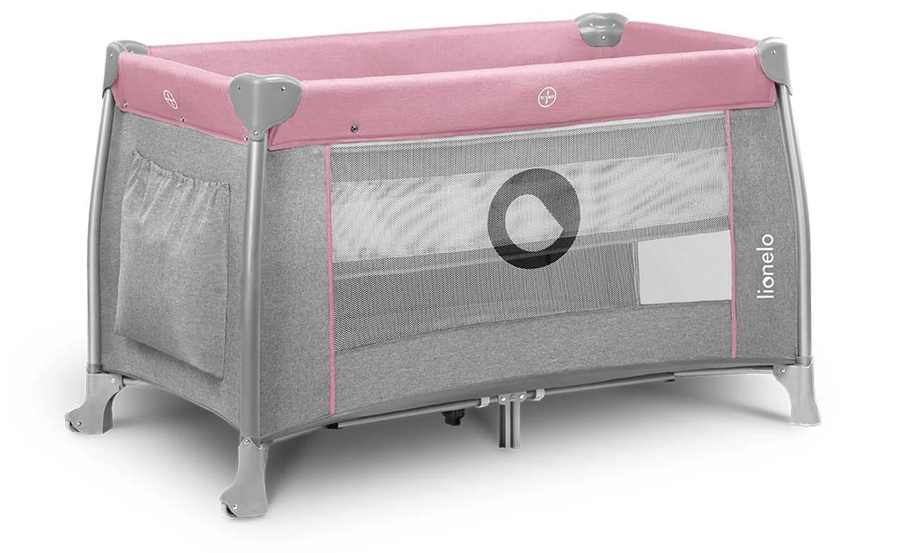 Dwupoziomowe łóżeczko turystyczne Lionelo Thomi Pink Baby