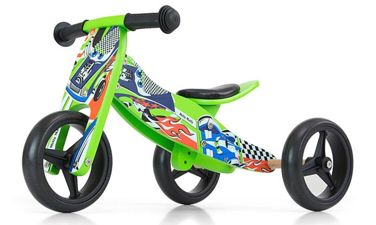 Jeździk rowerek 2w1 Milly Mally Jake Dark Green Cars