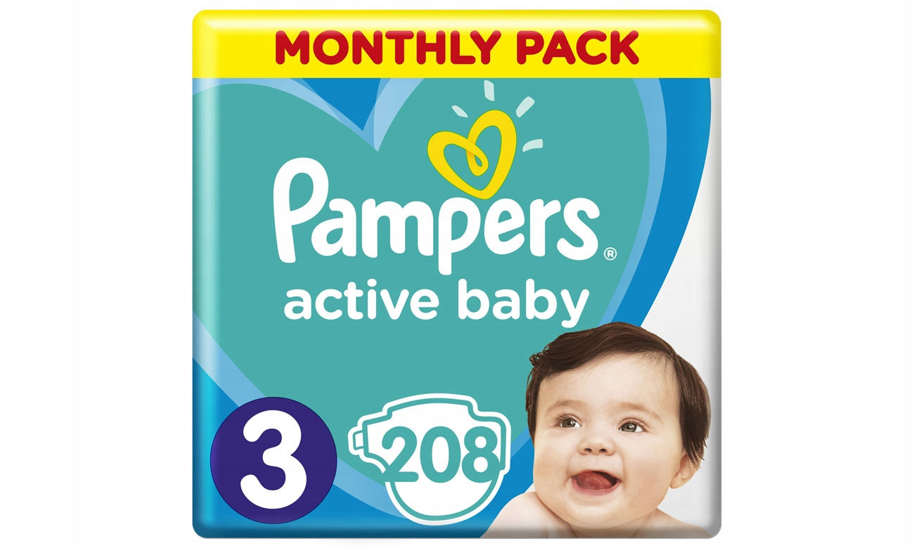 Pampers Active Baby 3 Midi 5-9 kg 208 szt. 8001090910745