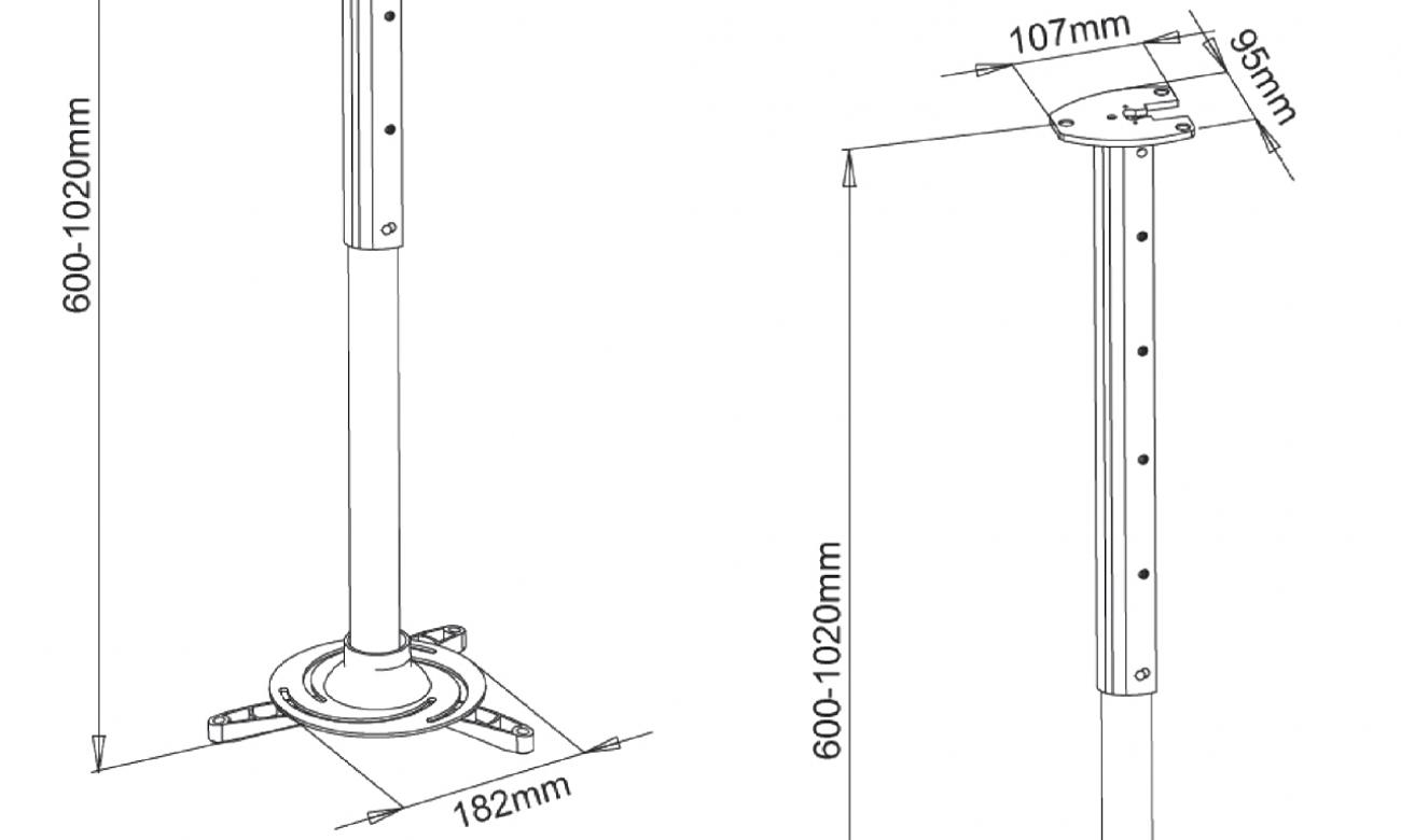 Uchwyt do projektora ART P-105S sufitowy 60-102 cm srebrnyT
