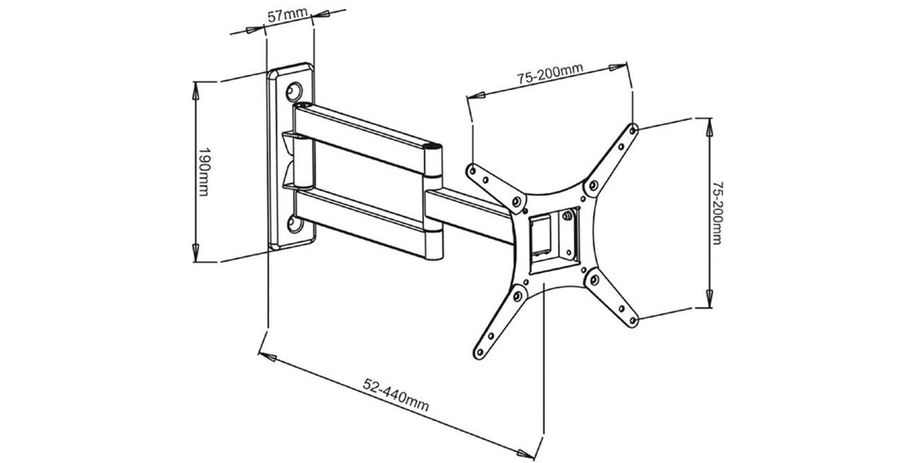 Uchwyt do TV ART AR-57 17- 32 20 kg regulacja pion poziom standard VESA