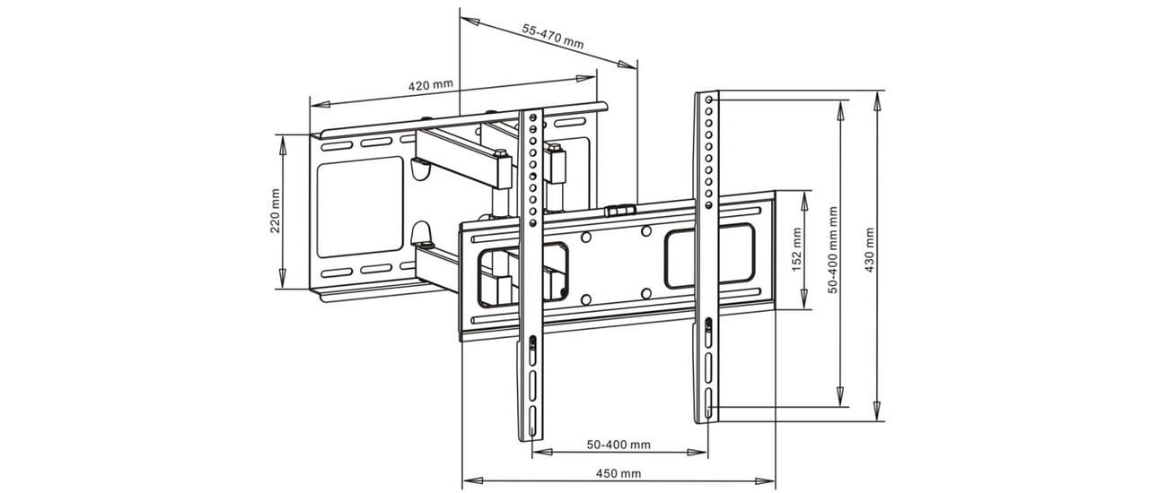 Uchwyt do telewizora ART AR-70 23 cale 55 cali telewizor maksymalnie 45 kg
