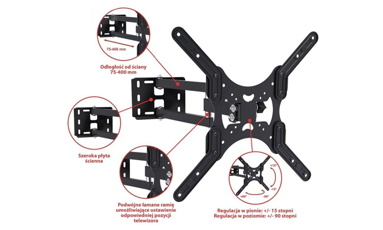 Uchwyt do TV ART AR-74 19 cali - 50 cali do max 35 kg regulacja pion i poziom standard VESA
