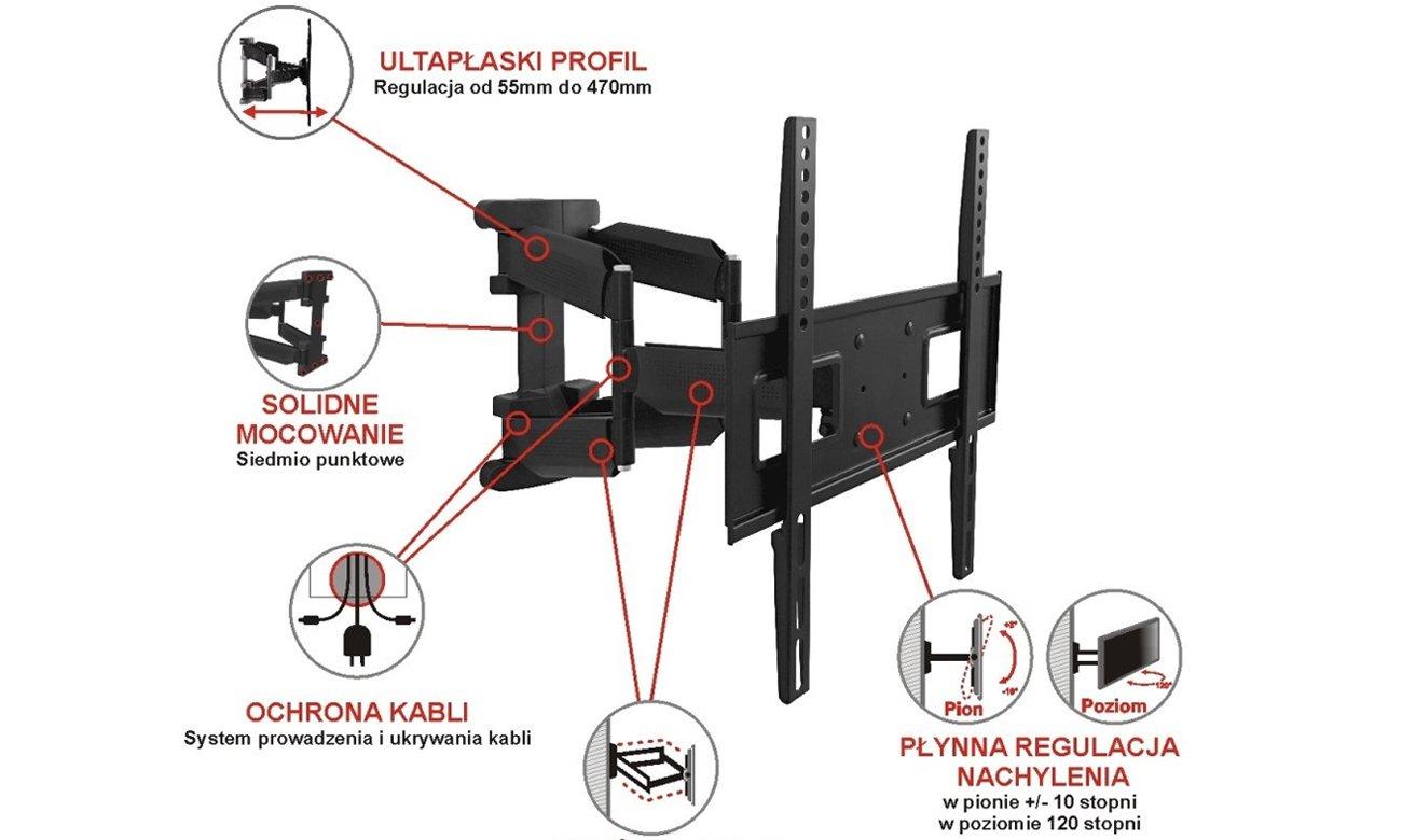 Uchwyt do telewizora ART AR-75 z maskownicami na kable