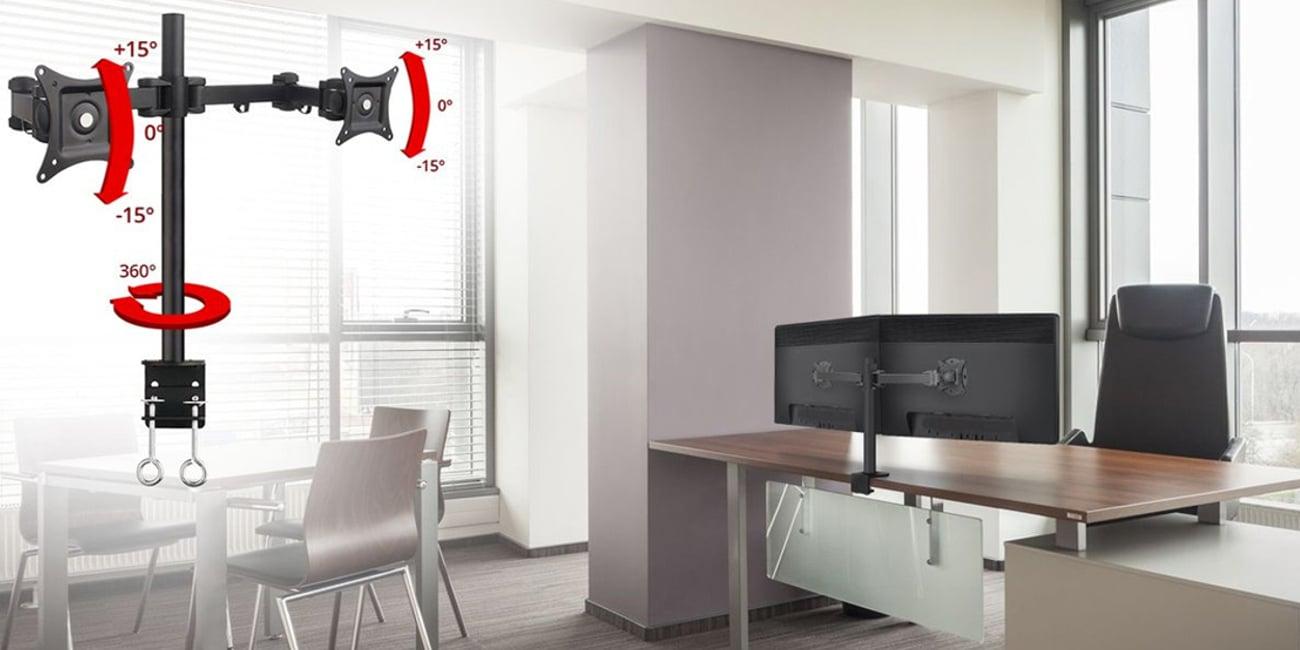 Łatwy montaż dwóch monitorów do biurka
