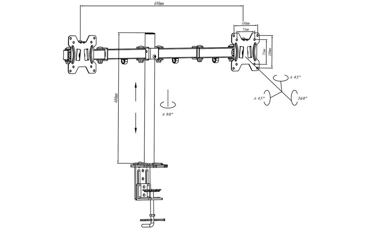 Uchwyt do monitorów z standartem VESA ART L-02A