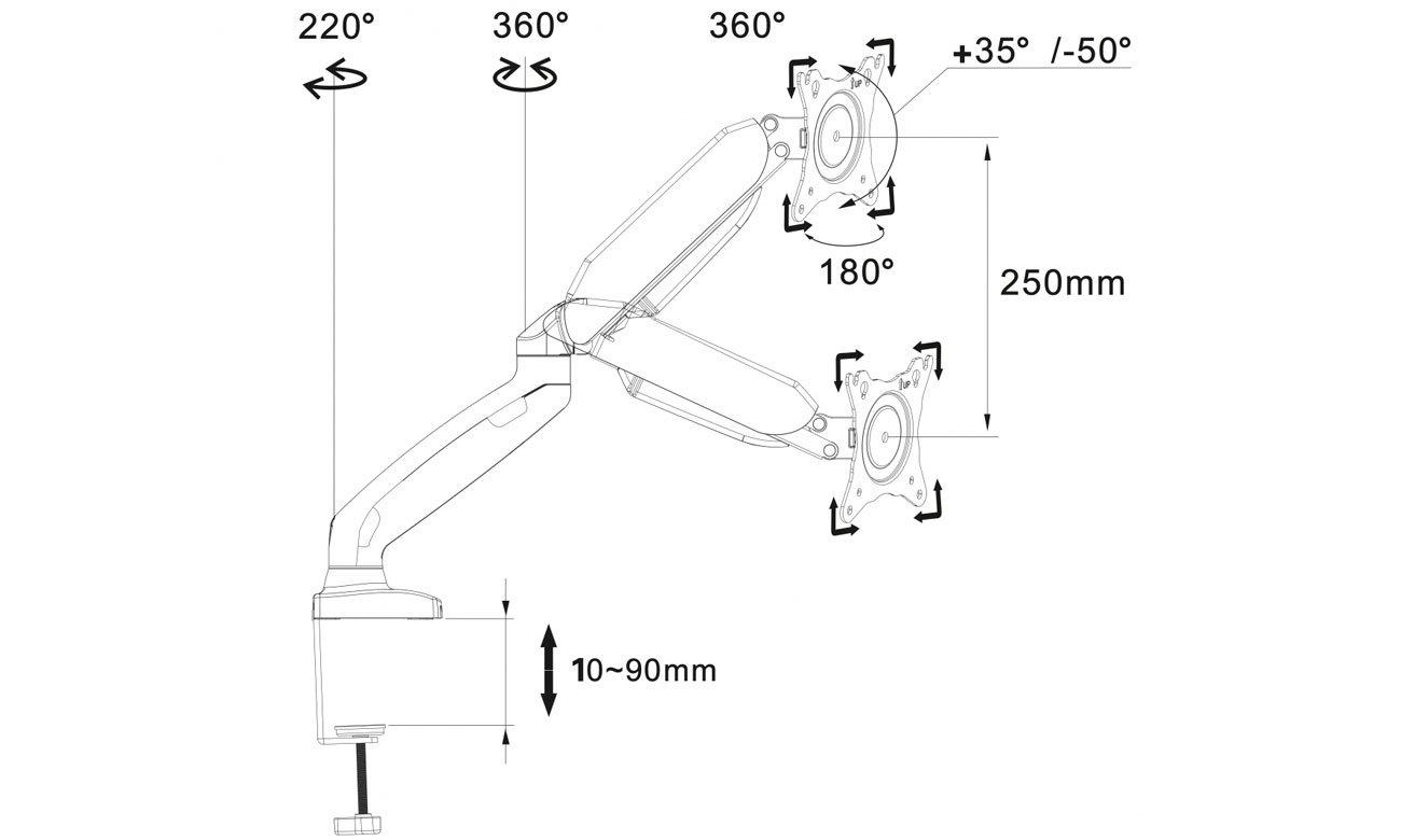 Uchwyt ART L-17GD mocowanie VESA