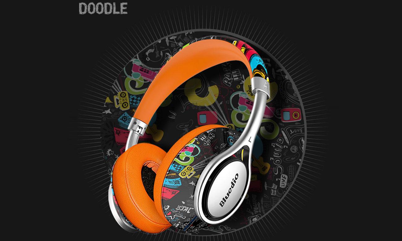 Nauszne słuchawki Bluetooth Bluedio A2 Doodle czarne