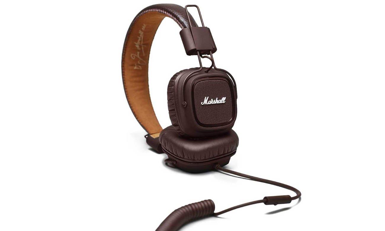 Odpinany, dwustronny kabel w słuchawkach Marshall Major 3 Brown