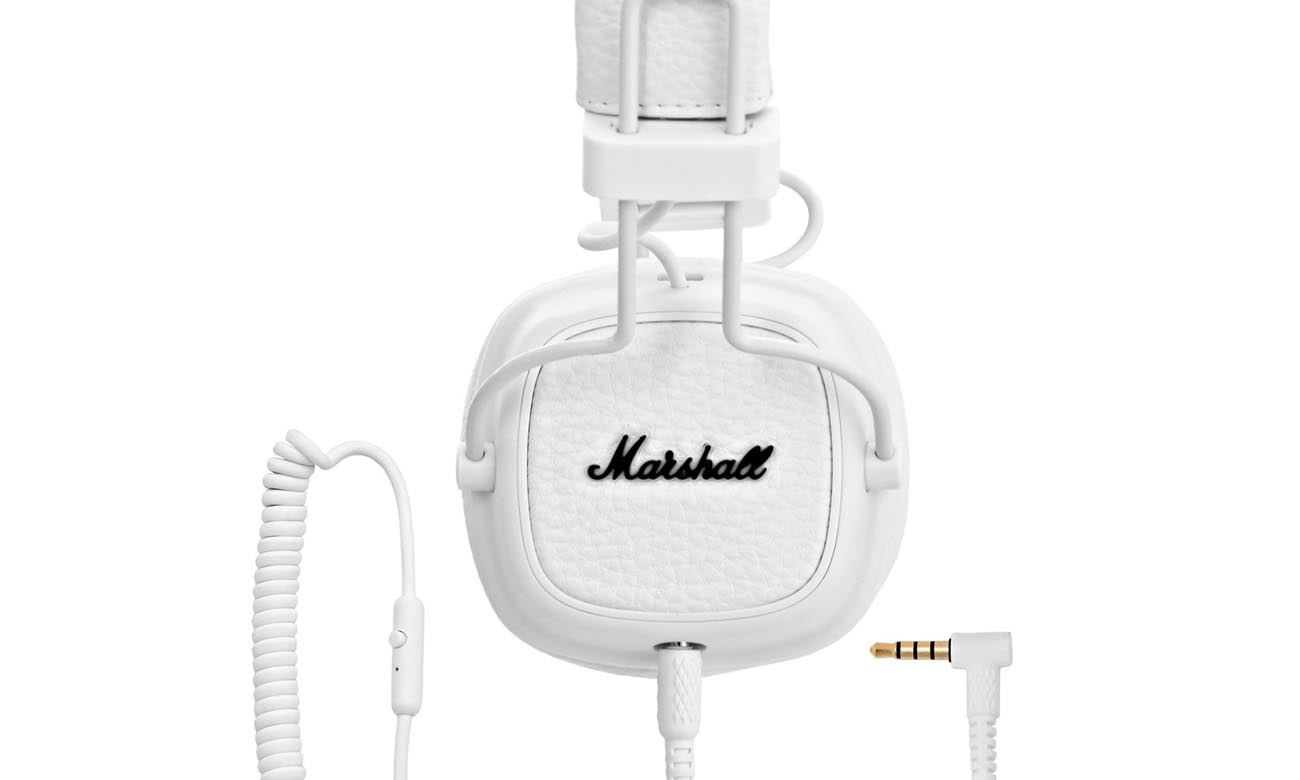 Odpinany, dwustronny kabel w słuchawkach Marshall Major 3 White
