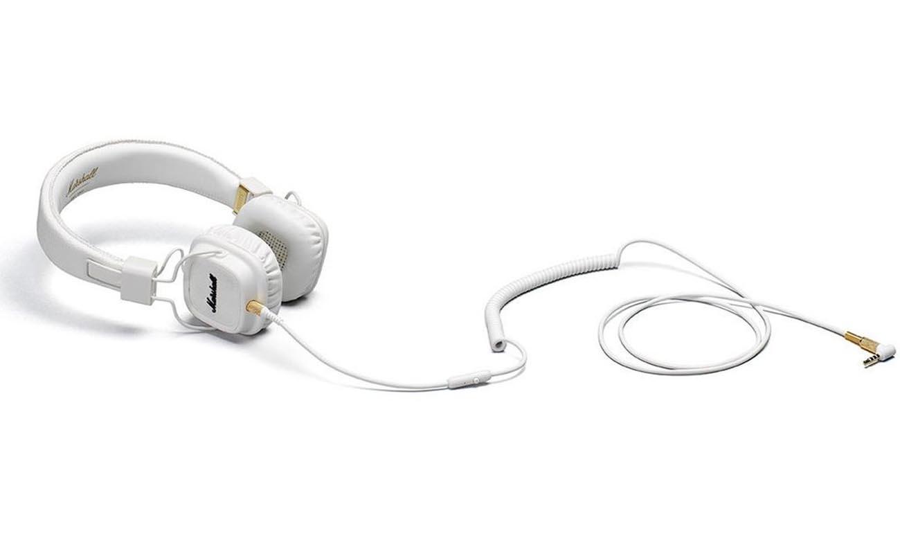Odpinany, dwustronny kabel w słuchawkach Marshall Major II White