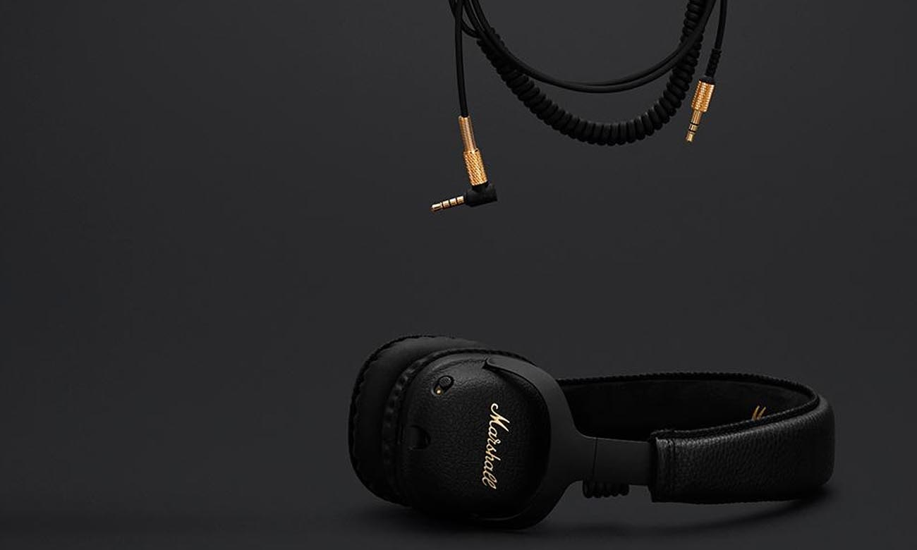 Odpinany, dwustronny kabel w słuchawkach Marshall Mid ANC Black BT