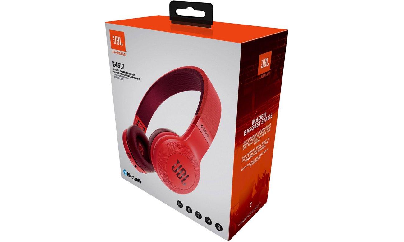 Zawartość opakowania słuchawek JBL E45BT czerwonych