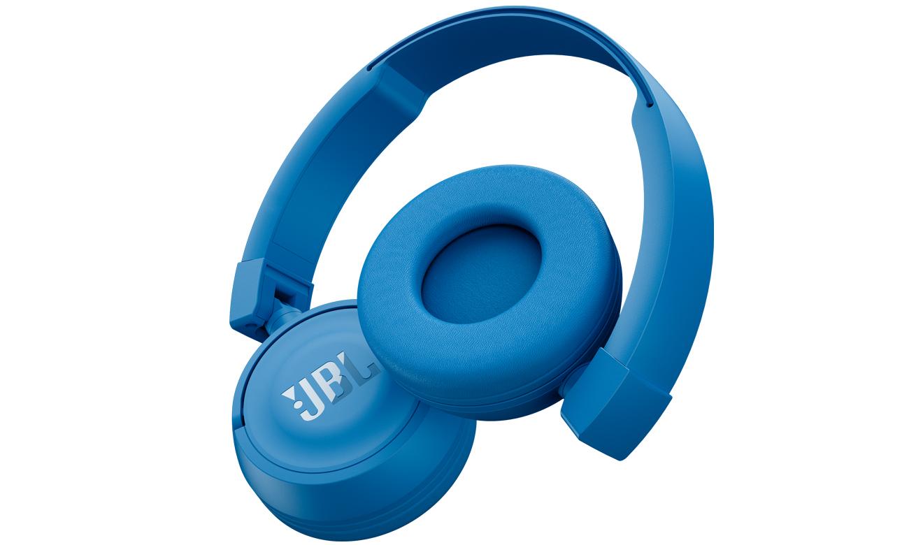 Składana konstrukcja słuchawek JBL T450BT niebieskich