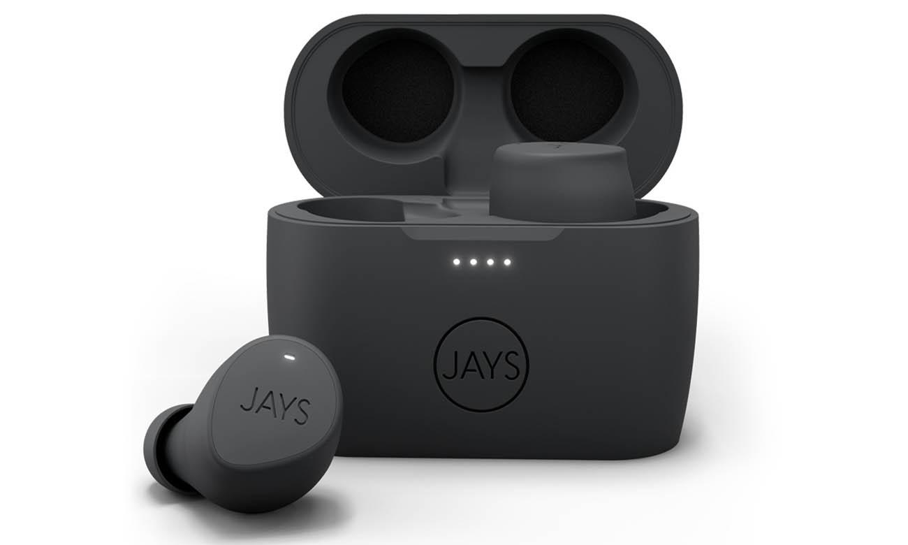 Sportowe słuchawki dokanałowe JAYS m-Five True Wireless Szare