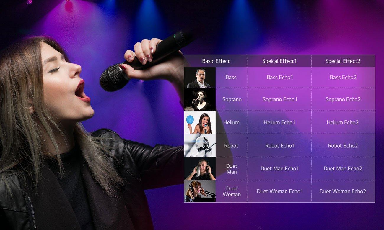 System audio LG CK56 z funkcją karaoke i modyfikacjami brzmienia
