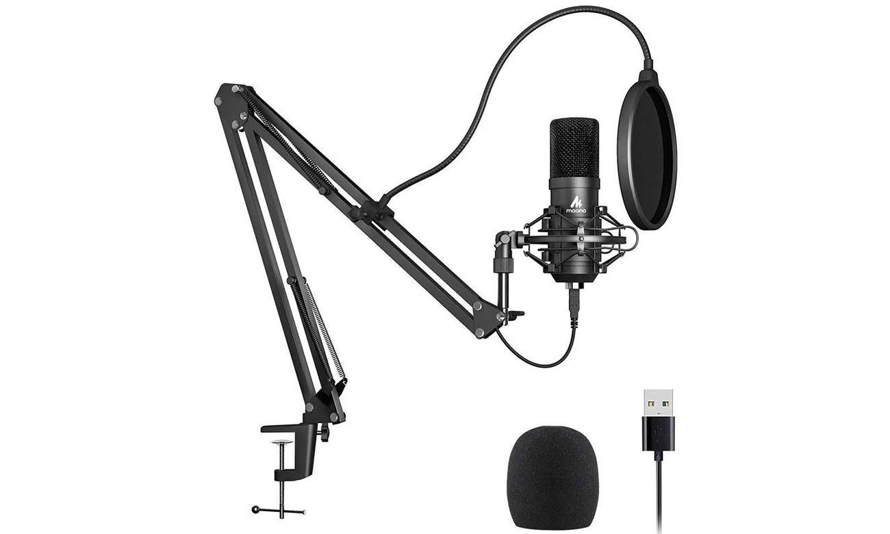 Mikrofon pojemnościowy MAONO MKIT-USB zestaw z wysięgnikiem