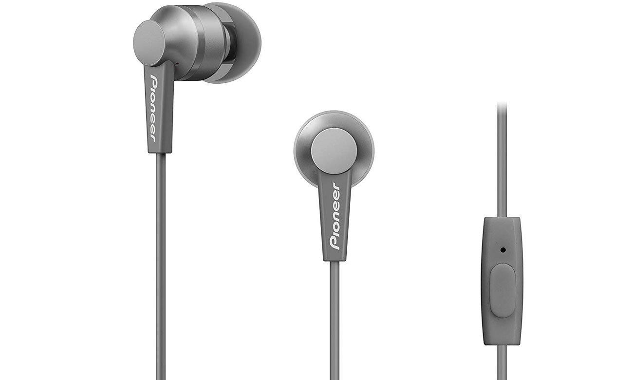 Szare słuchawki dokanałowe Pioneer SE-C3T-H