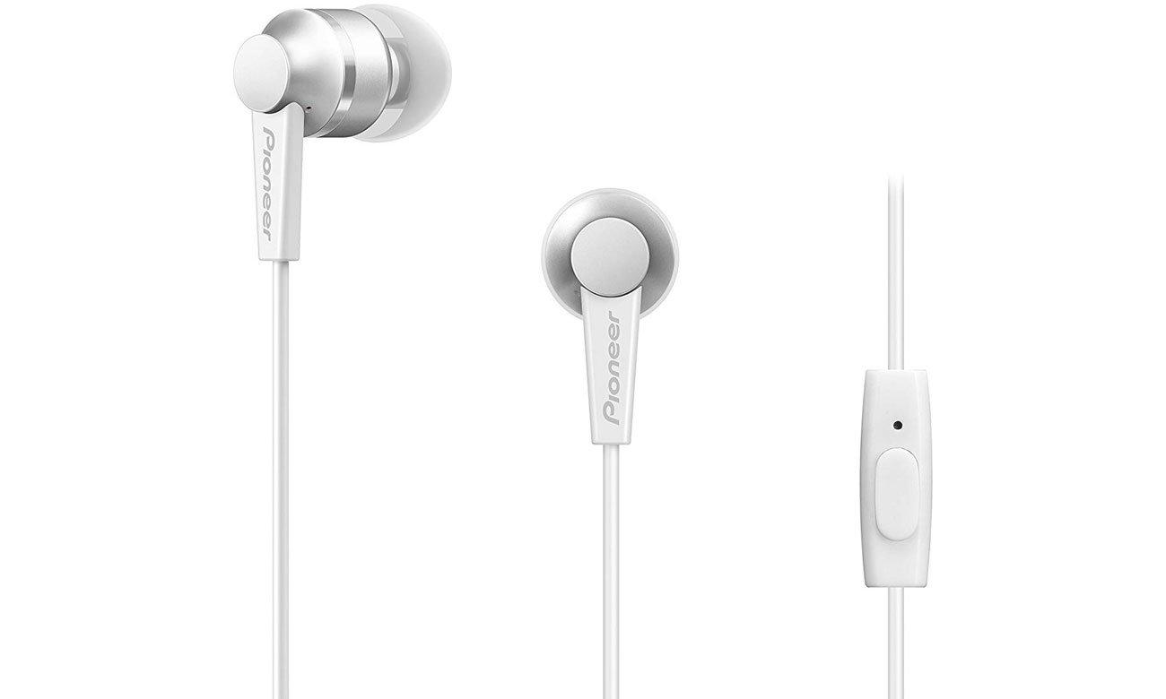 Białe słuchawki dokanałowe z mikrofonem Pioneer SE-C3T-W