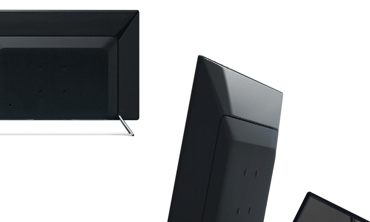 Czarna ramka, metaliczne nóżki telewizora Samsung UE49K5100