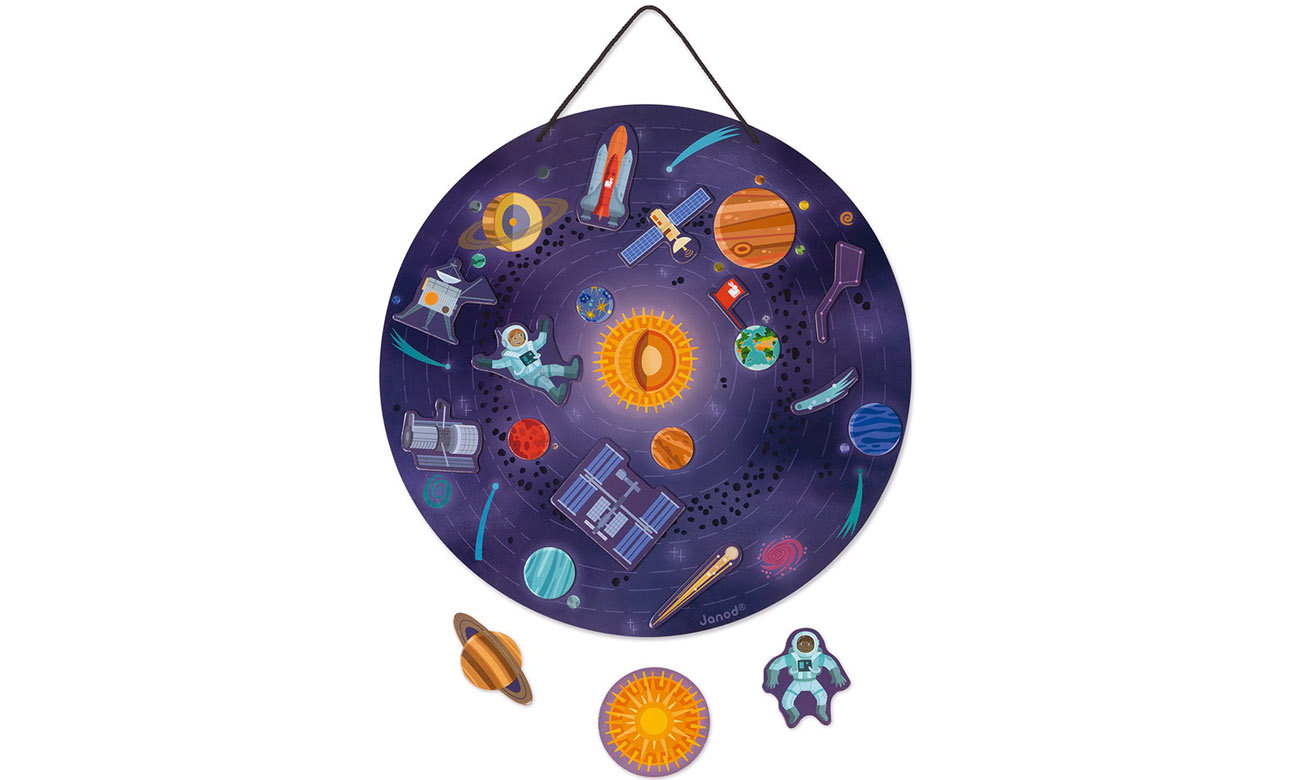 Janod Układanka drewniana magnetyczna z 20 magnesami Układ Słoneczny J05462