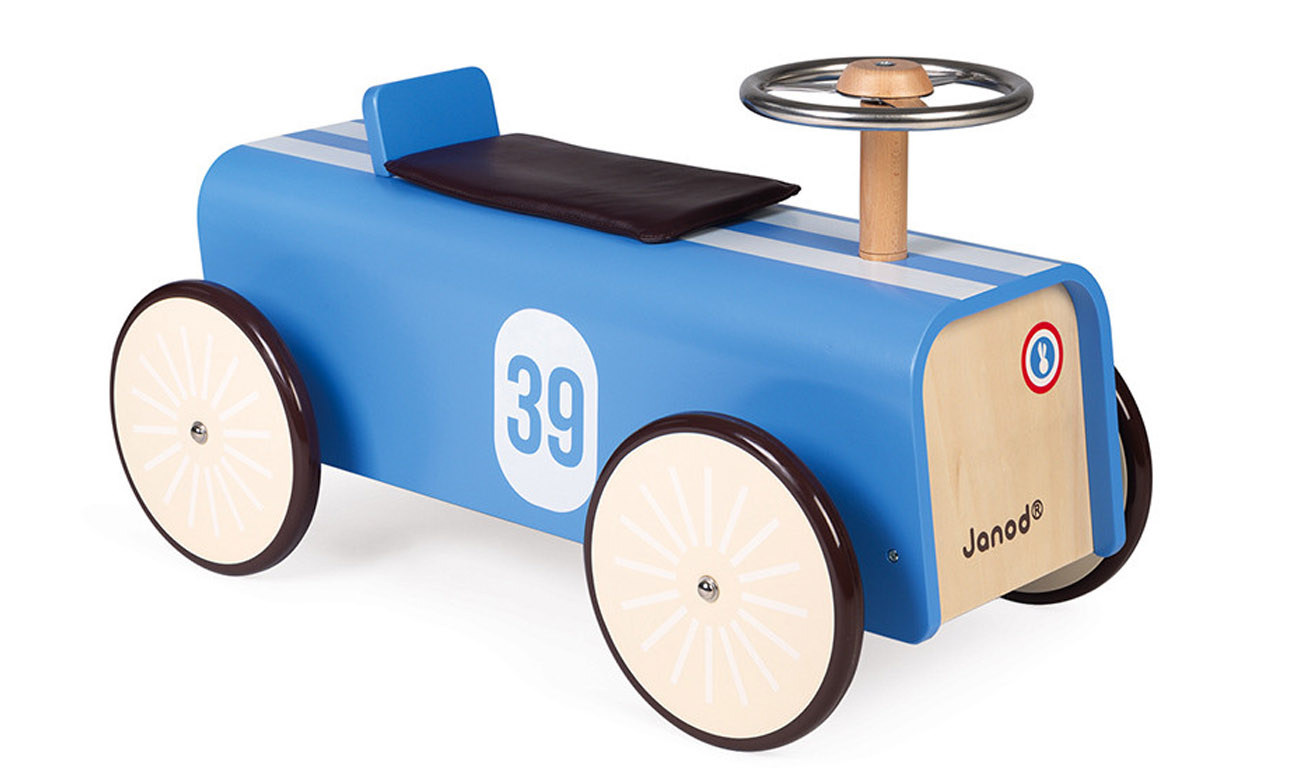 Janod Drewniany jeździk retro Bolid wyścigowy J08051