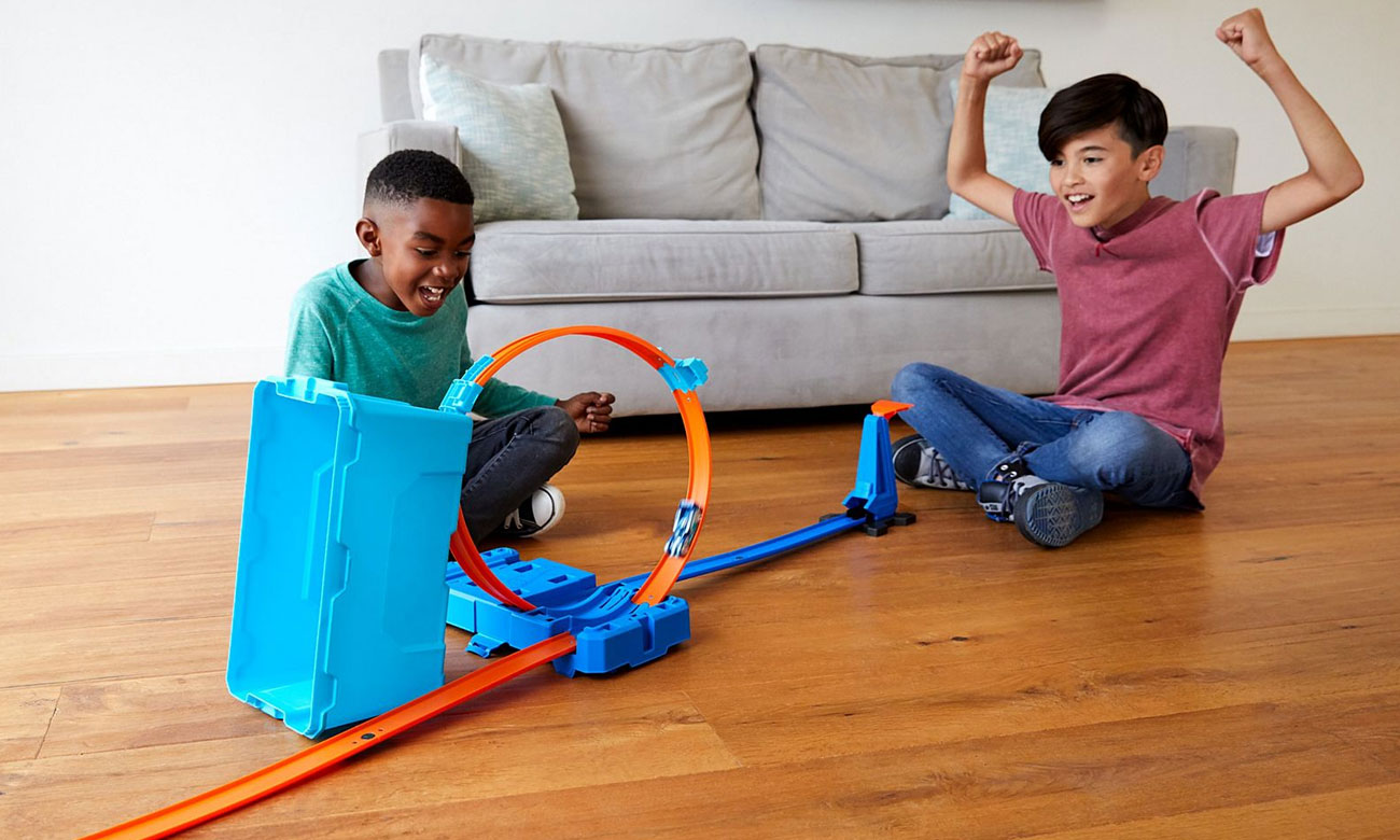 Mattel Hot Wheels Track Builder Zestaw Kaskaderskie pętle niebieskie FLK90