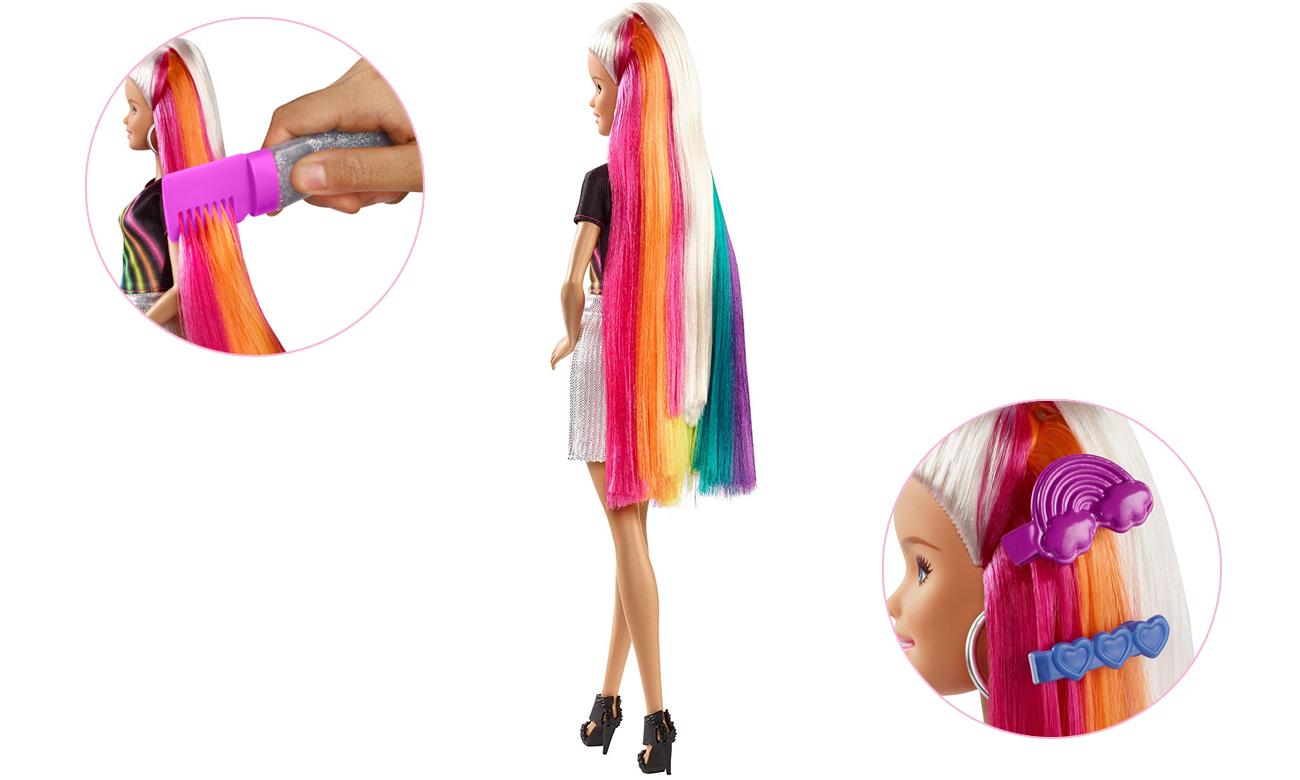 Mattel Barbie Błyszczące tęczowe włosy Lalka