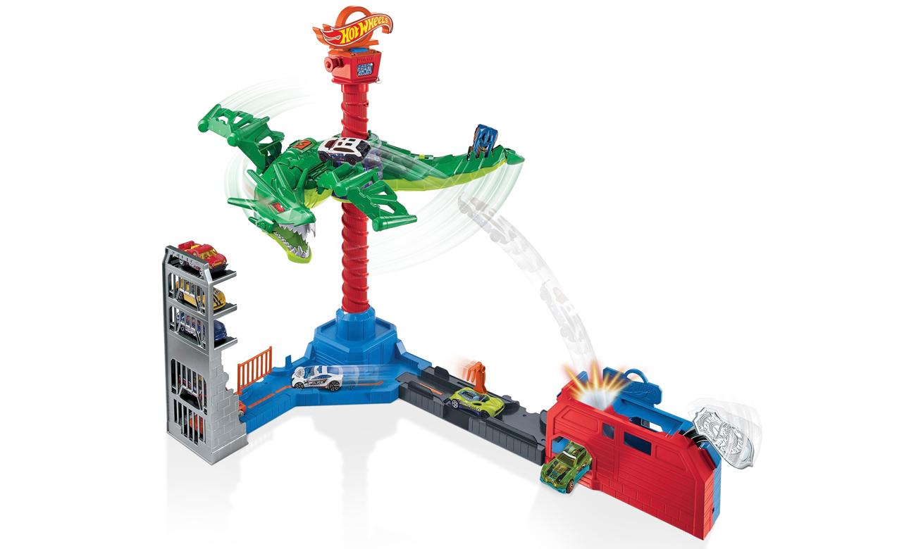 Mattel Hot Wheels City Atak smoka Zestaw z napędem, dźwiękami i pojazdem