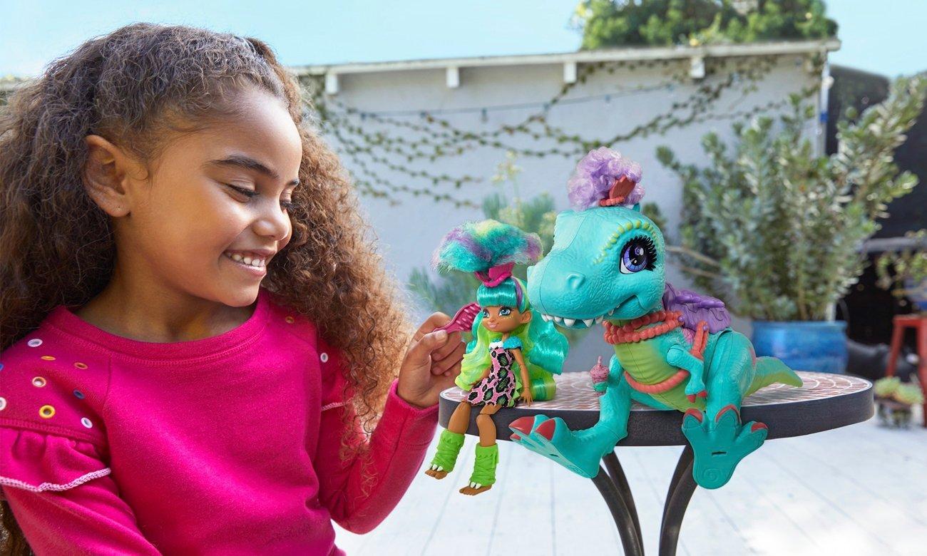 Mattel Cave Club Lalka Rockelle + Tyrasaurus Zestaw