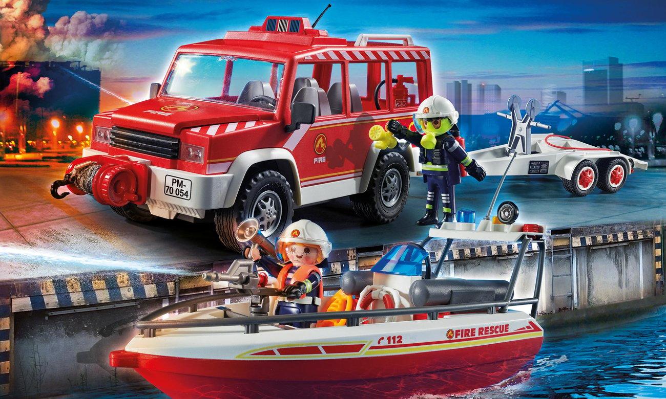PLAYMOBIL Samochód strażacki z łodzią strażacką